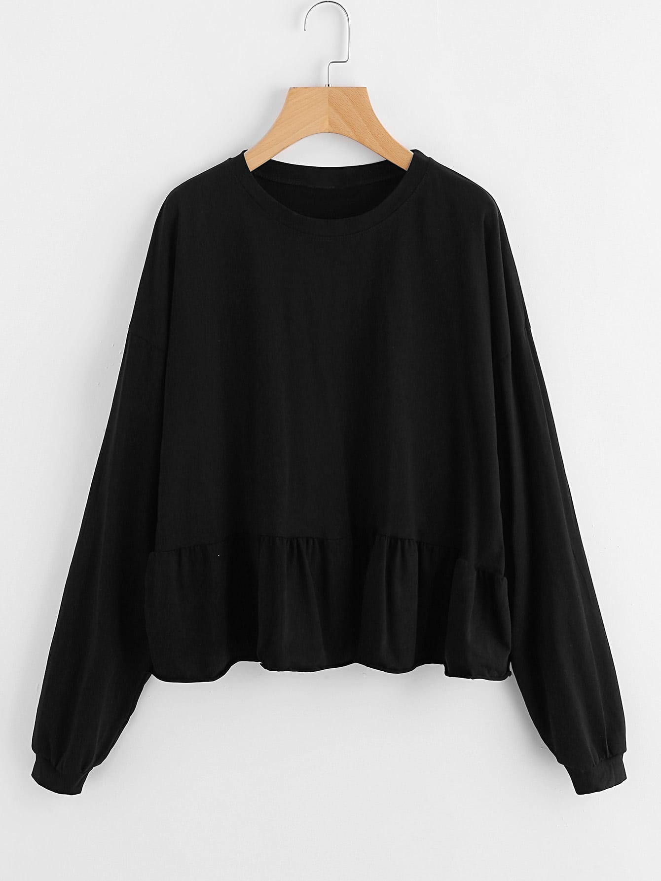 Drop Shoulder Frill Hem Batwing Sweatshirt zip back frill neck and hem sweatshirt