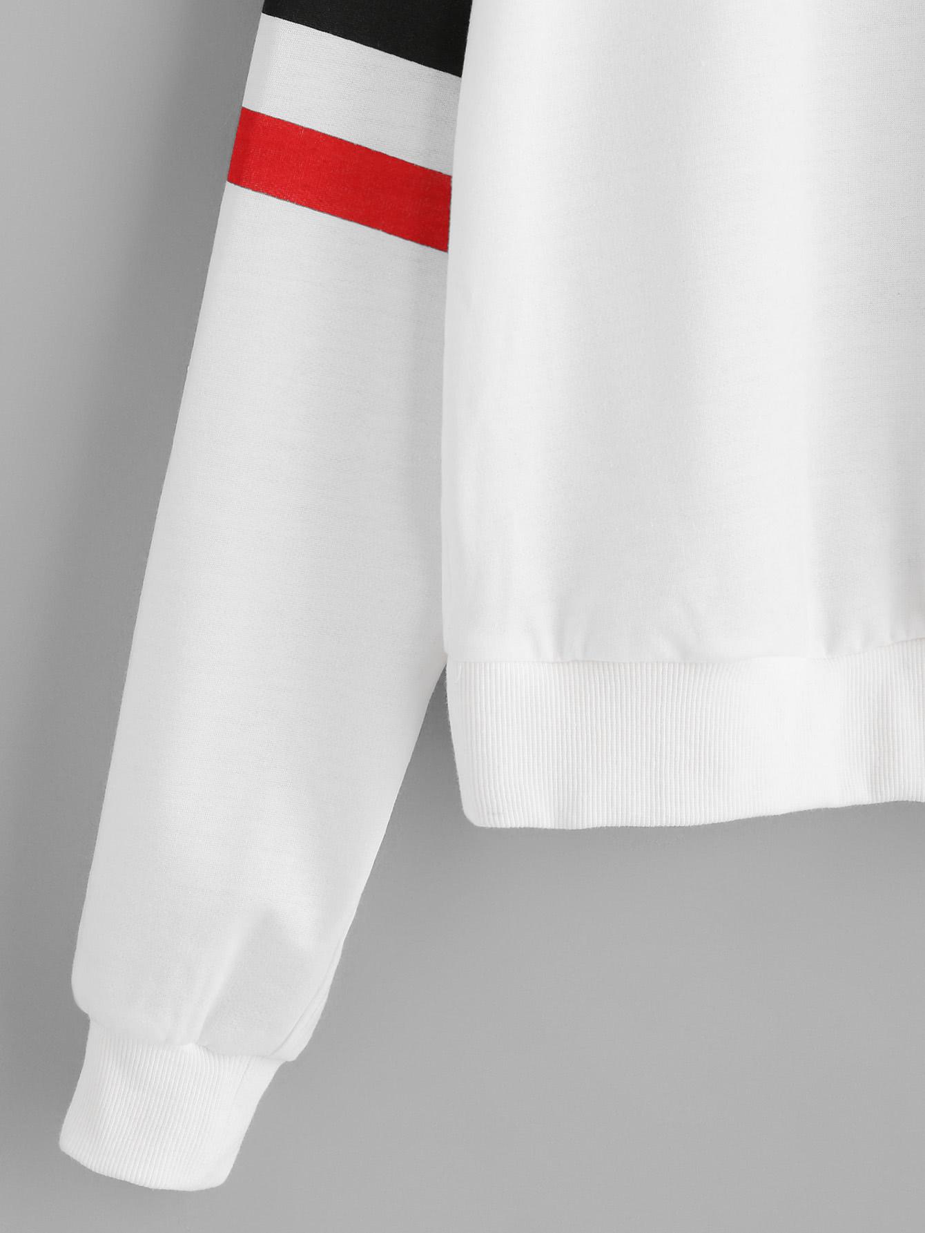 Drop Shoulder Varsity Striped Sleeve Pullover