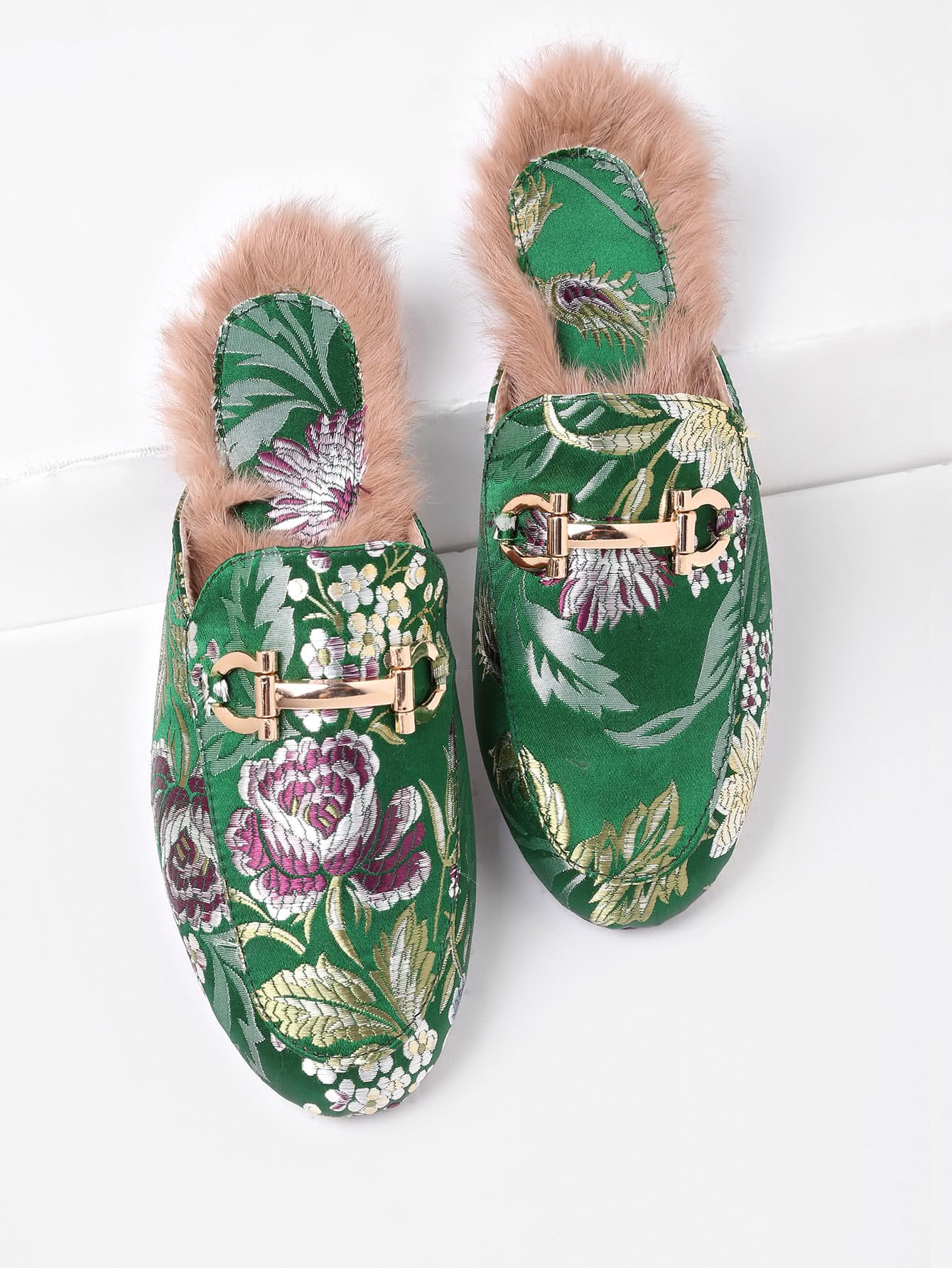 Faux Fur Detail Satin Flat Loafer Slippers