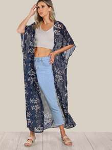 Floral Print Sheer Kimono BLUE
