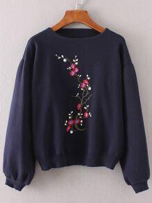 Lantern Sleeve Flower Embroidery Sweater