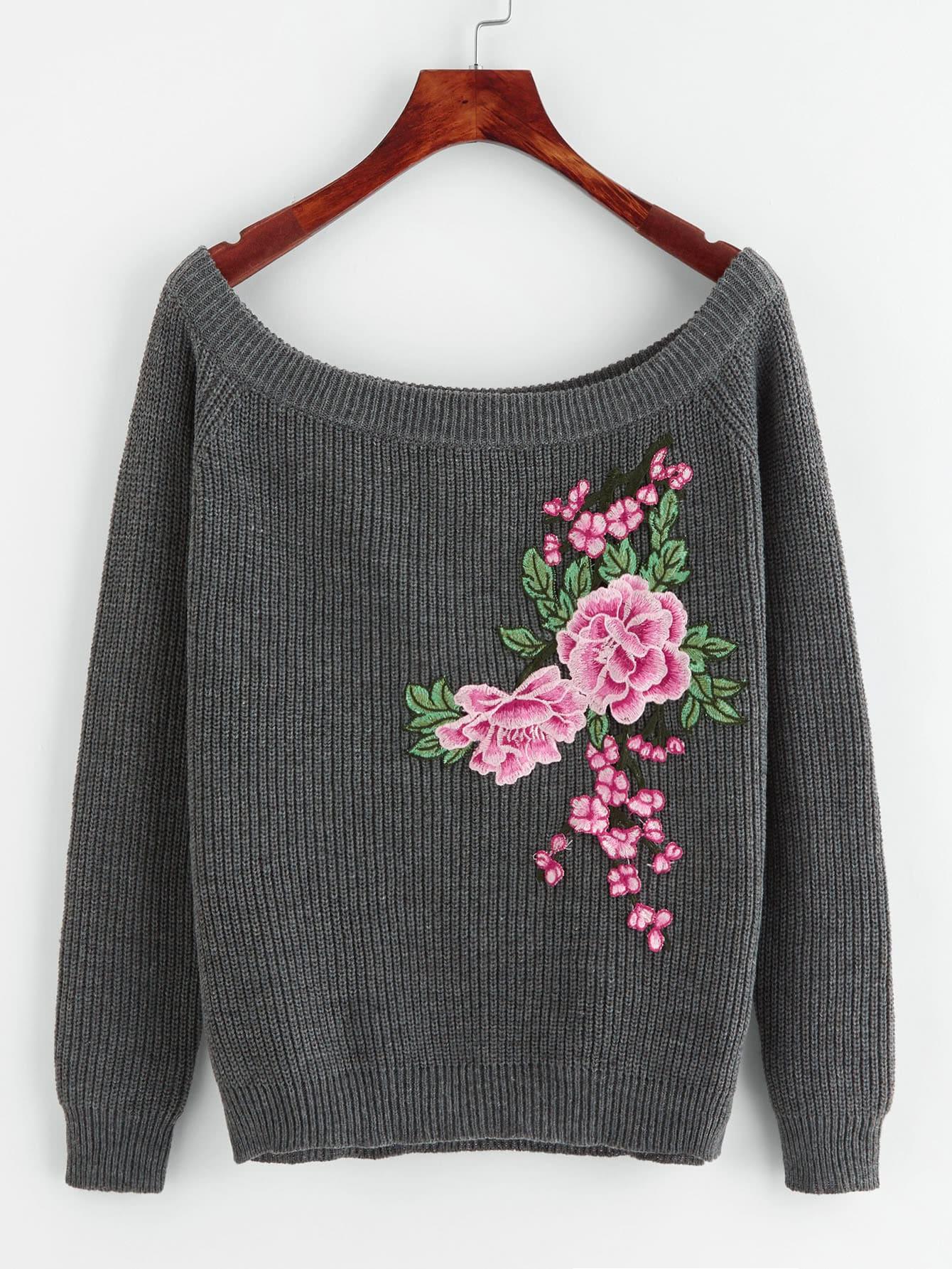 Embroidered Flower Patch Raglan Sleeve Jumper embroidered flower patch jumper