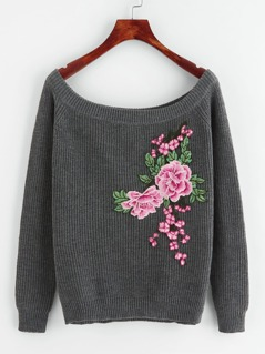 Embroidered Flower Patch Raglan Sleeve Jumper