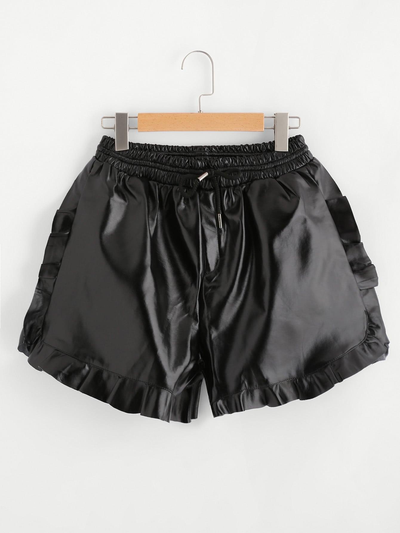 Elastic Waist Frill Trim PU Shorts