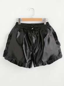 Pantaloncini di PU con elastico in vita