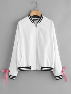 Striped Trim Gingham Tape Lace Up Bomber Jacket