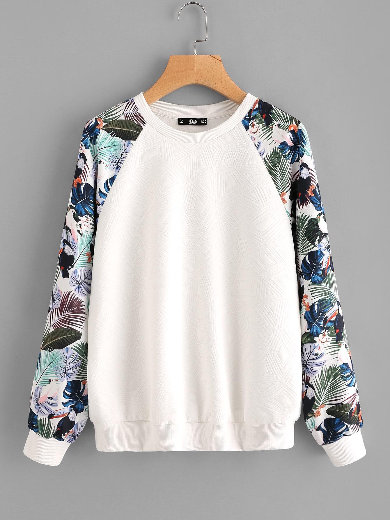 Tropical Print Raglan Sleeve Textured Sweatshirt two tone raglan sleeve sweatshirt