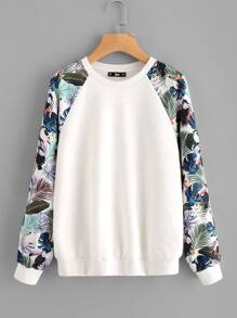 Tropical Print Raglan Sleeve Textured Sweatshirt