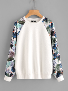 Sweat-shirt avec manche raglan imprimé tropical