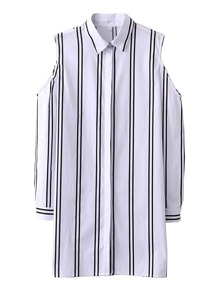 Cold Shoulder Striped Shirt Dress