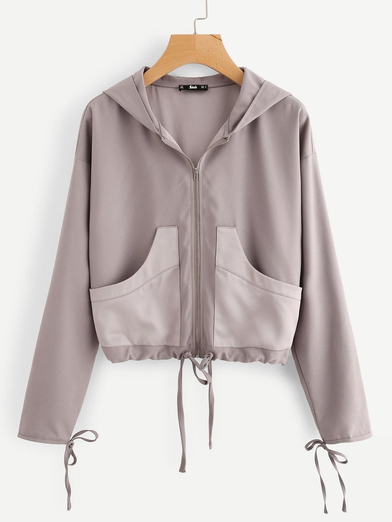 Drawstring Cuff And Hem Hooded Jacket tree print drawstring hem hooded blouse