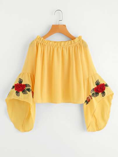 Frill Trim Fluted Sleeve Embroidery Top