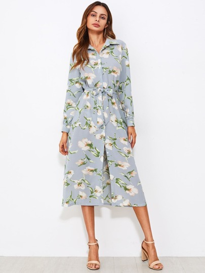 All Over Botanical Print Self Tie Shirt Dress