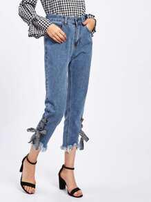 Jeans à maille à lacets à carreaux