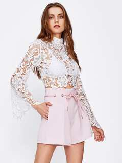 Bell Sleeve See Through Guipure Lace Top
