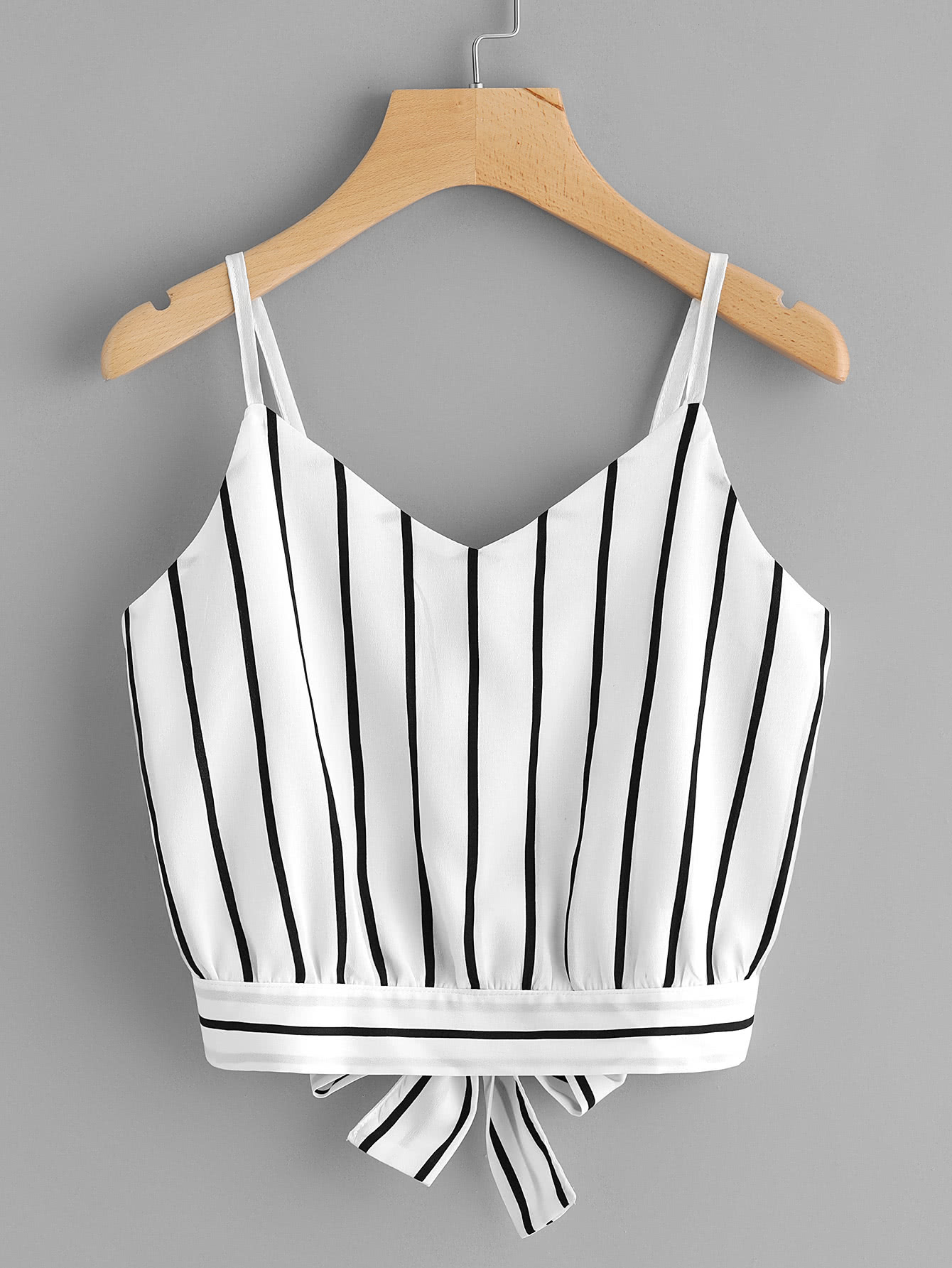 Striped Split Tie Back Crop Cami Top все цены