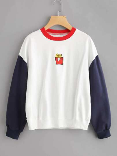 Contrast Sleeve Fries Embroidered Sweatshirt