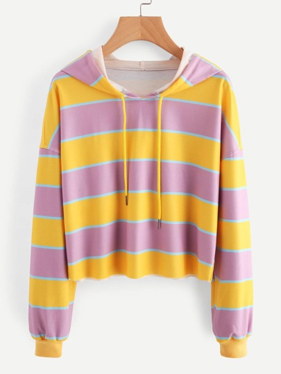 Contrast Wide Stripe Drop Shoulder Hoodie