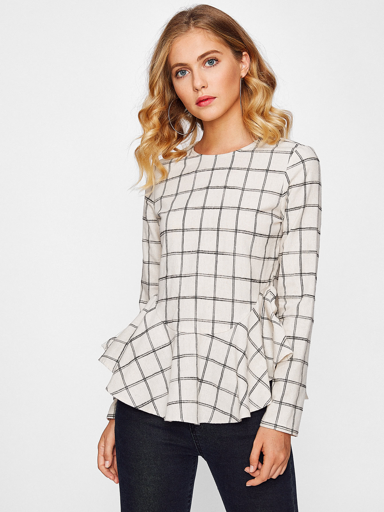 Ruffle Curved Hem Grid Blouse