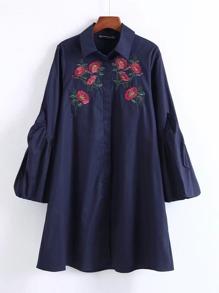 Flower Embroidery Lantern Sleeve Dress