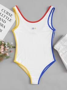 Body con ribete en contraste con bordado