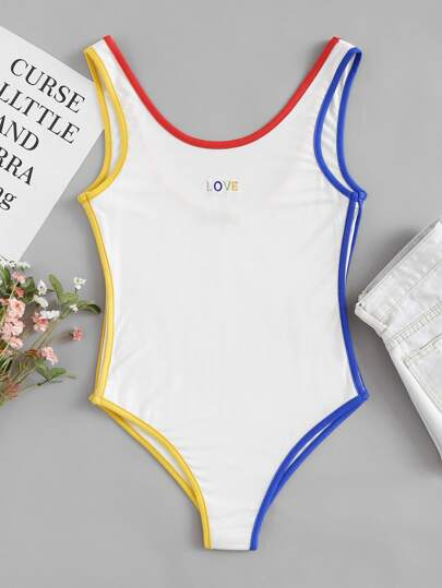 Contrast Binding Embroidered Bodysuit