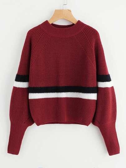 Wide Cuff Puff Sleeve Striped Sweater