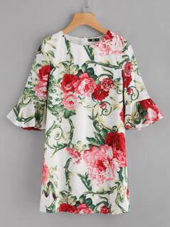 Flower Print Trumpet Sleeve Dress