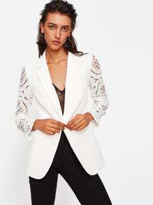 Geo Crochet Sleeve Notch Collar Blazer
