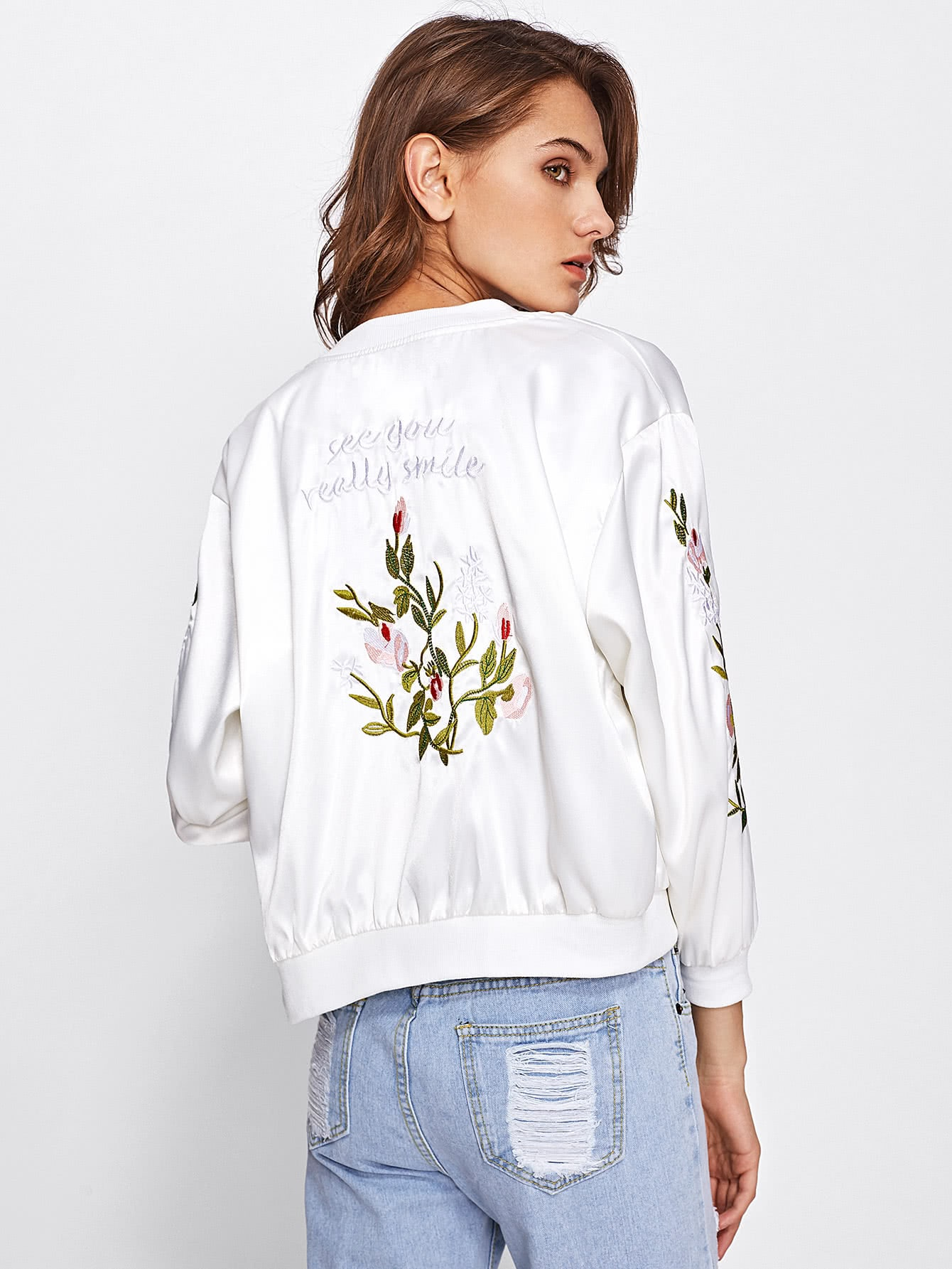 Satin Ribbed Trim Embroidered Jacket jacket170814101