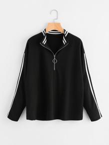 Sweat-shirt découpé à rayures avec le zip et la chute de l\'épaule