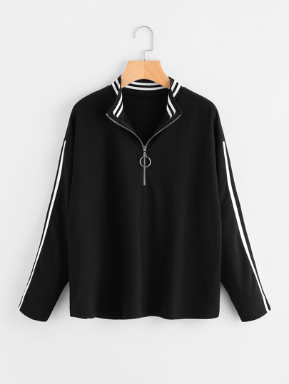 Striped Trim Drop Shoulder Zipper Sweatshirt