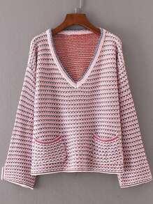 Front Pocket V Neckline Striped Sweater