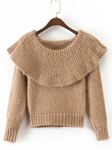 Ribbed Detail Flounce Pullover Sweater