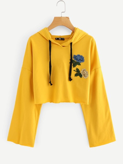 Embroidered Flower Patch Drop Shoulder Crop Hoodie