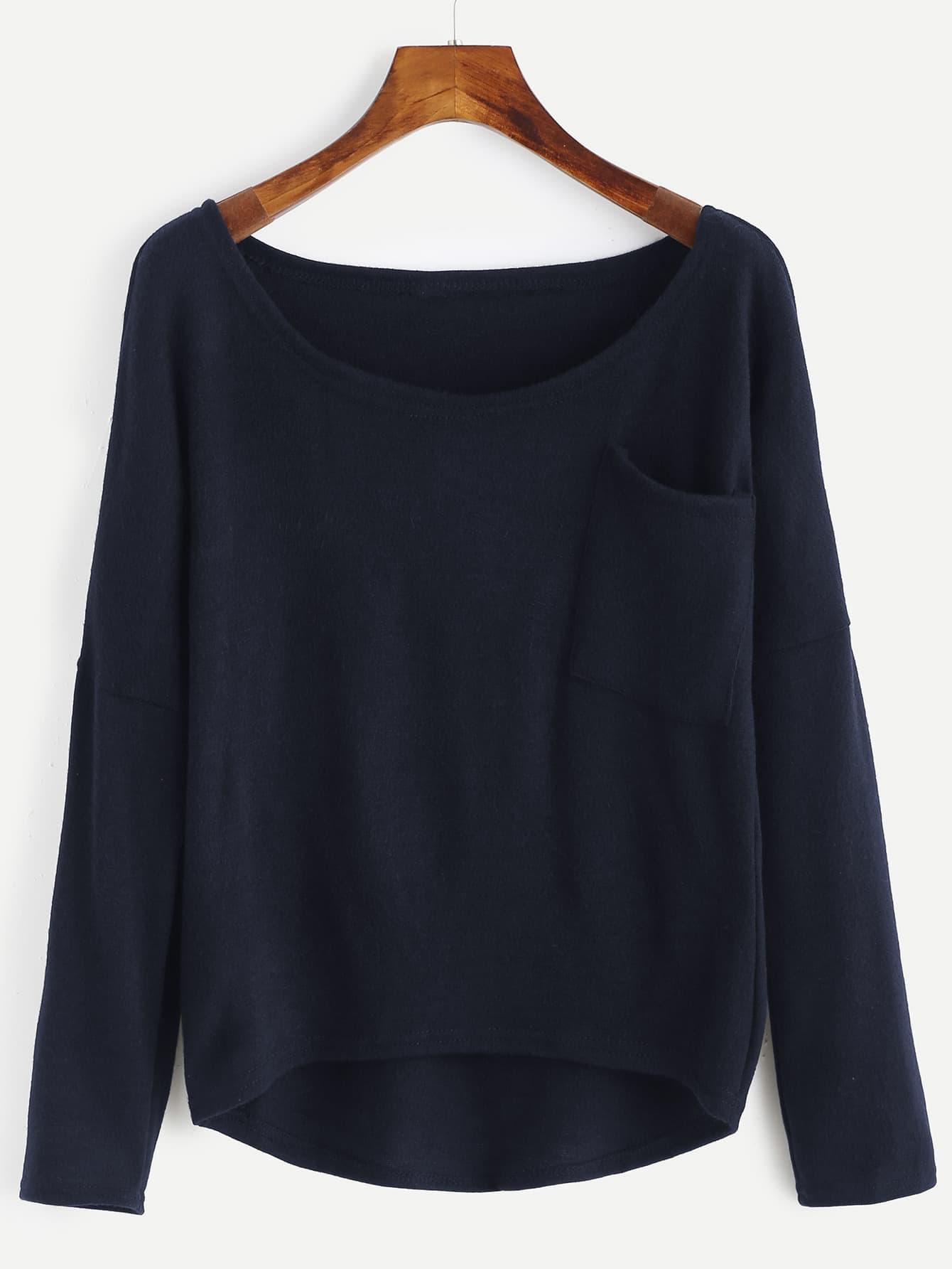 Asymmetrischer Strick Pullover mit sehr tief angesetzter Schulterpartie