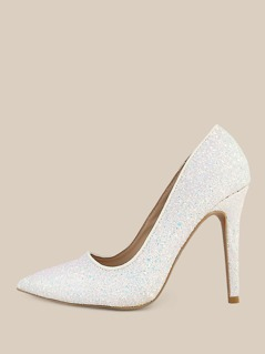 Glitter Point Toe Stiletto Pumps WHITE