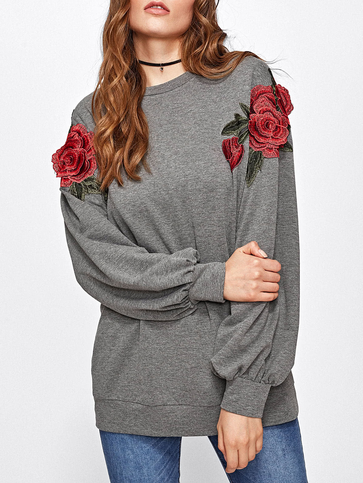 3D Rose Applique Heather Knit Pullover кенгуру huf genuine pullover hood gray heather