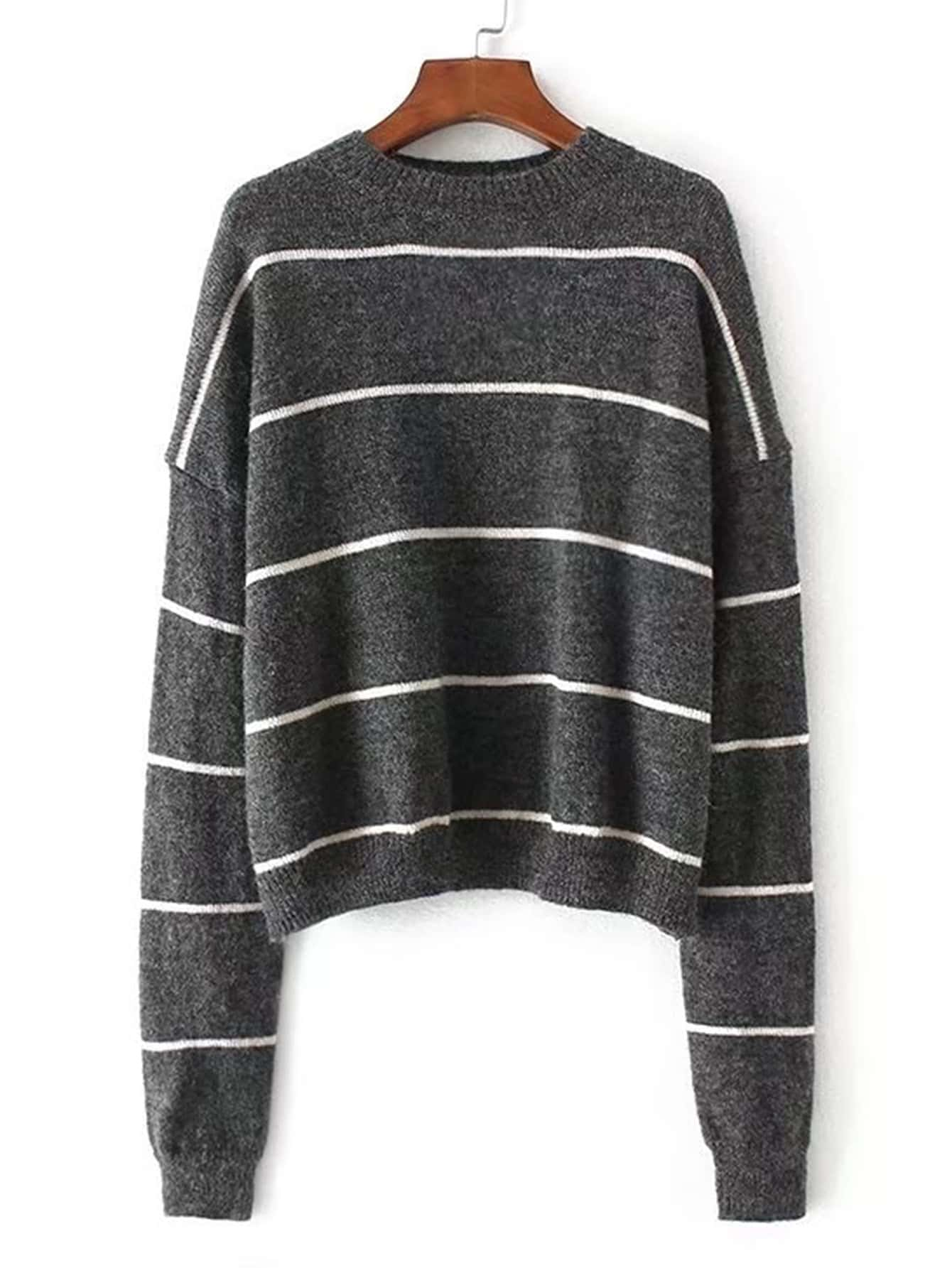 Drop Shoulder Striped Jumper Sweater RKNI170831202