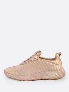Metallic Lace Up Textured Sneakers ROSE GOLD
