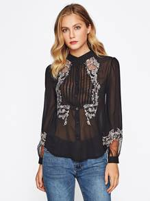 Lace Embroidered Front And Cuff See-Though Blouse