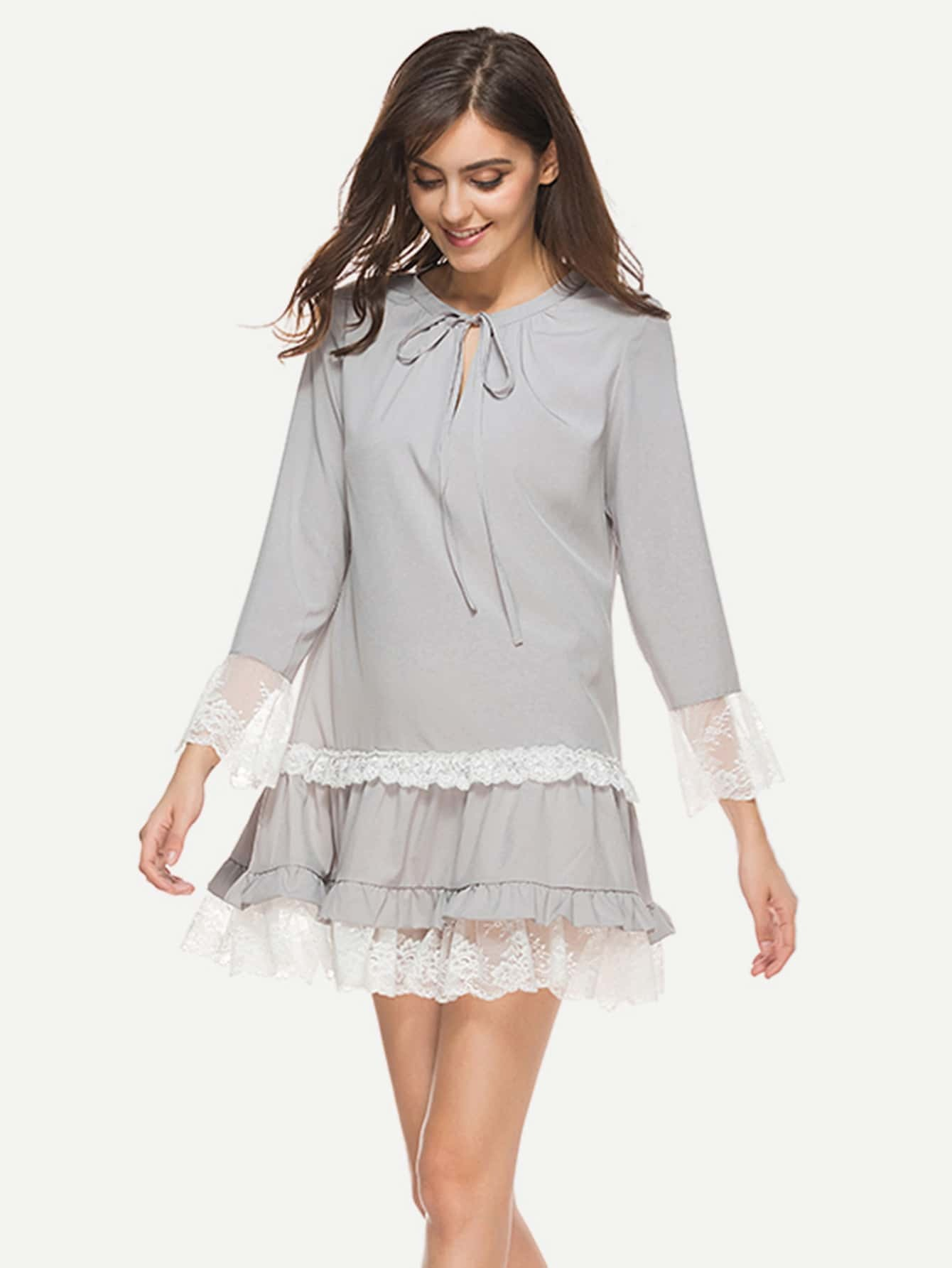 Contrast Lace Trim Tie Neck Frill Hem Dress maison jules new junior s small s pink combo lace crepe contrast trim dress $89