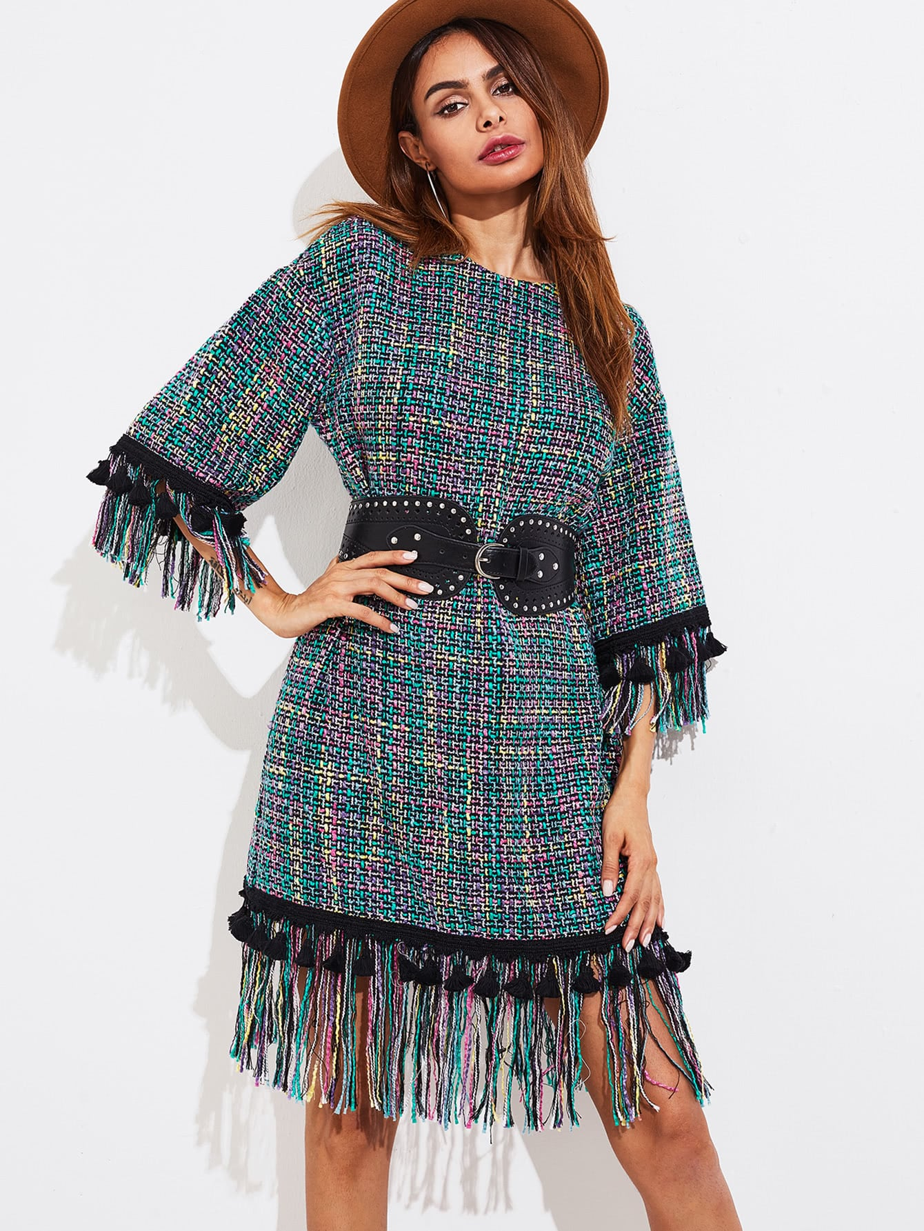 Fringe And Tassel Trim Tweed Dress dress170711705