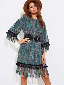 Fringe And Tassel Trim Tweed Dress