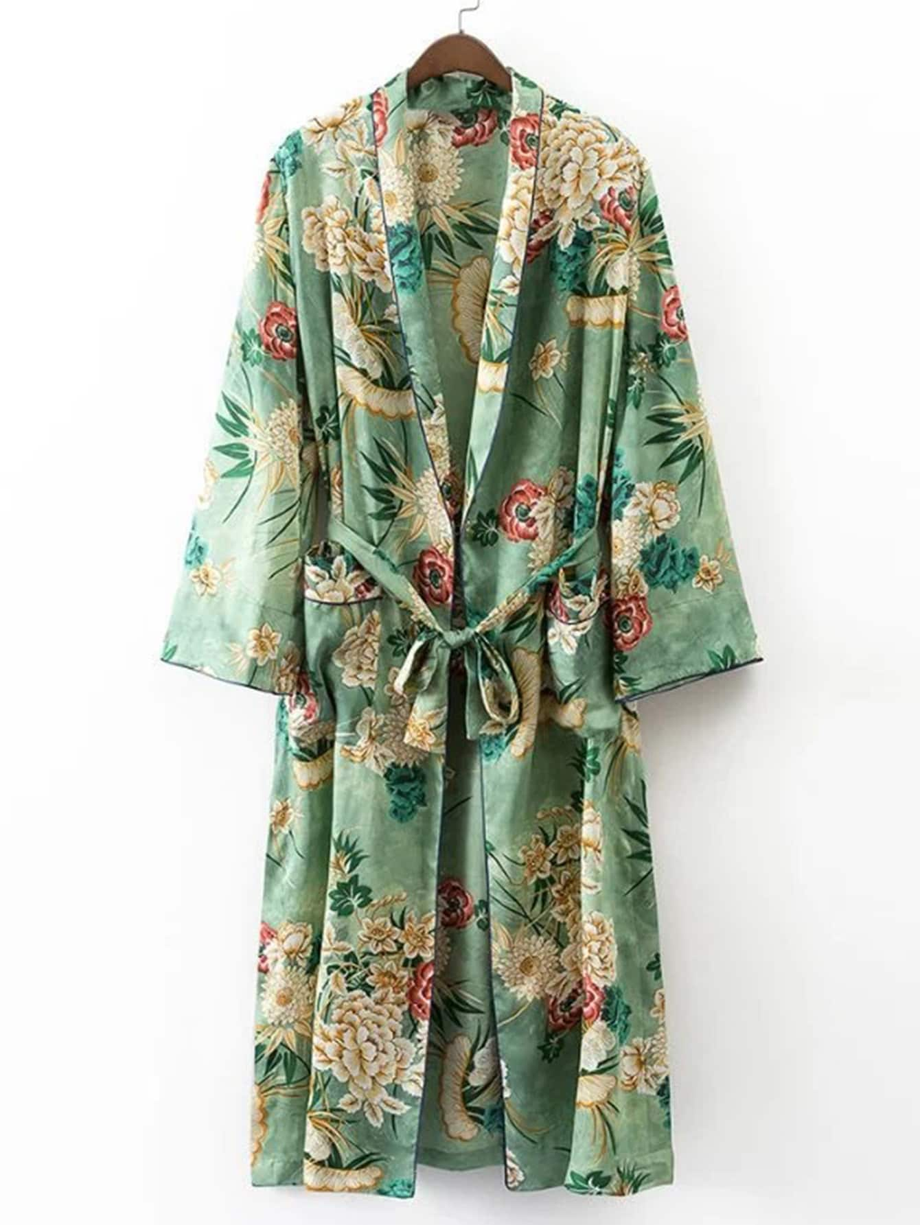 Calico Print Contrast Piping Self Tie Longline Kimono calico print shirt dress with self tie