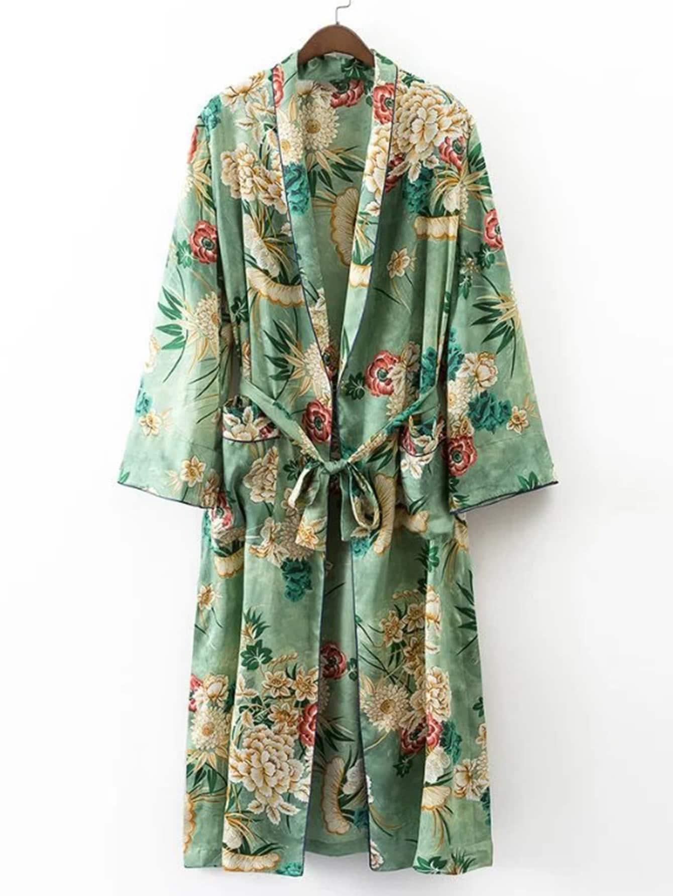 Calico Print Contrast Piping Self Tie Longline Kimono