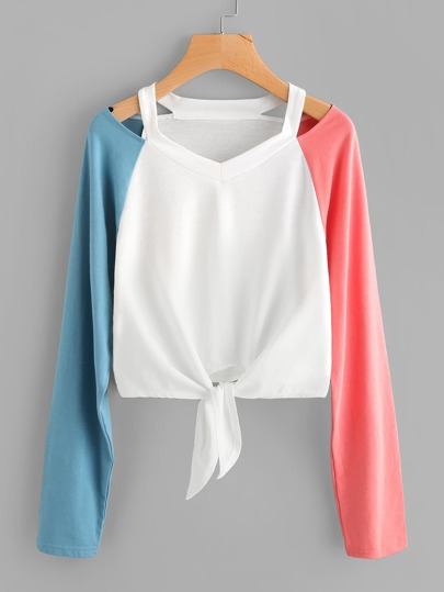 Cut Out Neck Contrast Sleeve Knot Front Tee