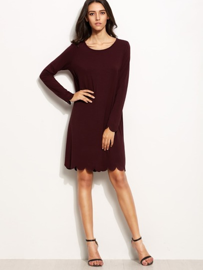 Scallop Trim Shift Dress