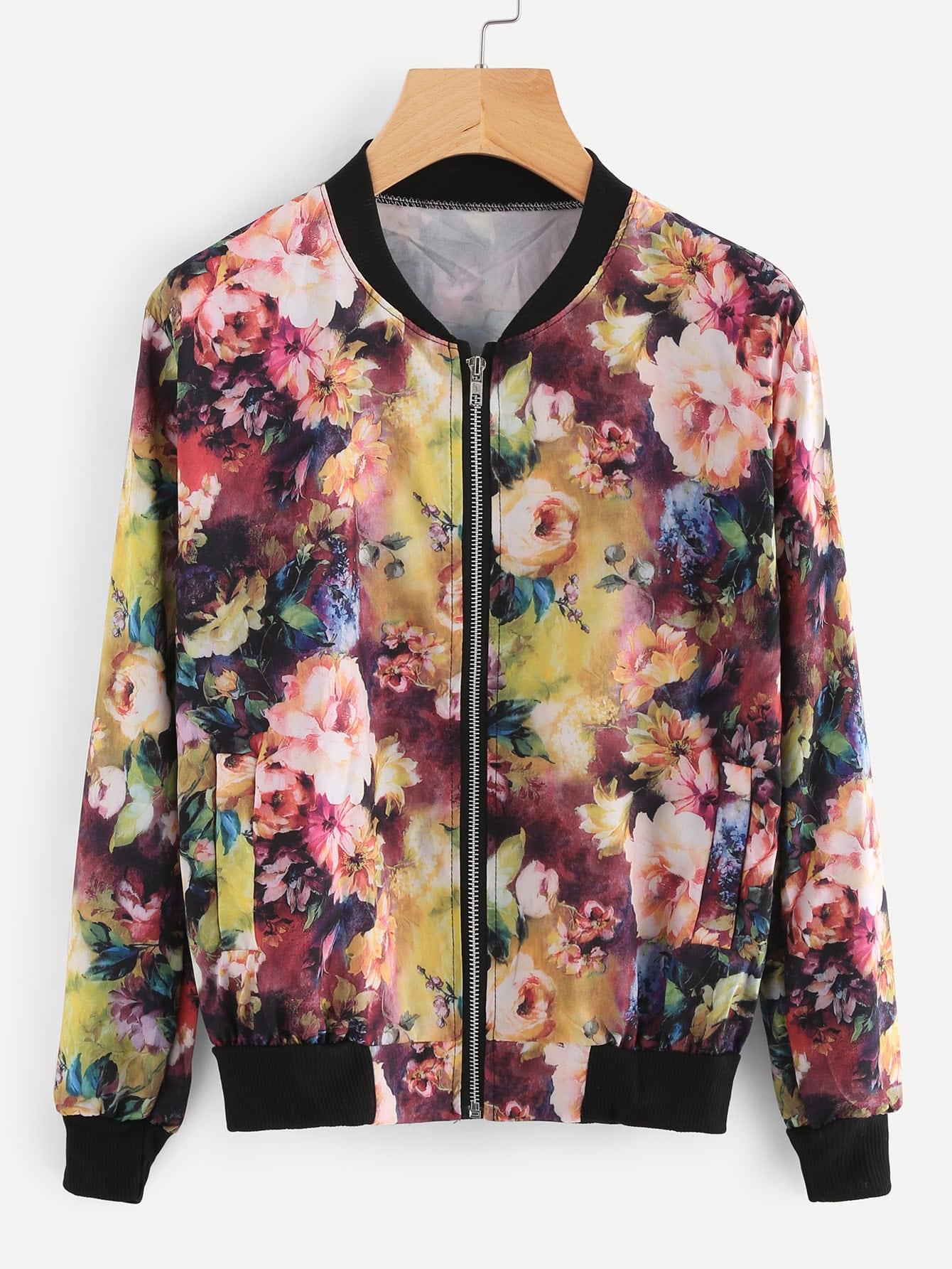 Contrast Ribbed Trim Florals Jacket