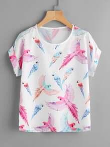 Random Parrot Print Cuffed T-shirt